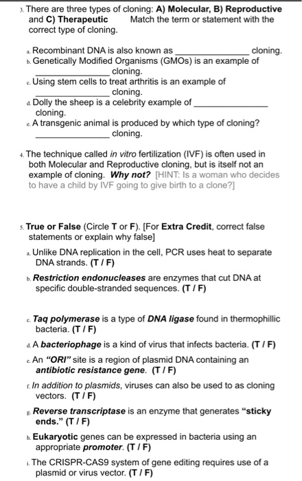 Solved There Are Three Types Of Cloning A Molecular