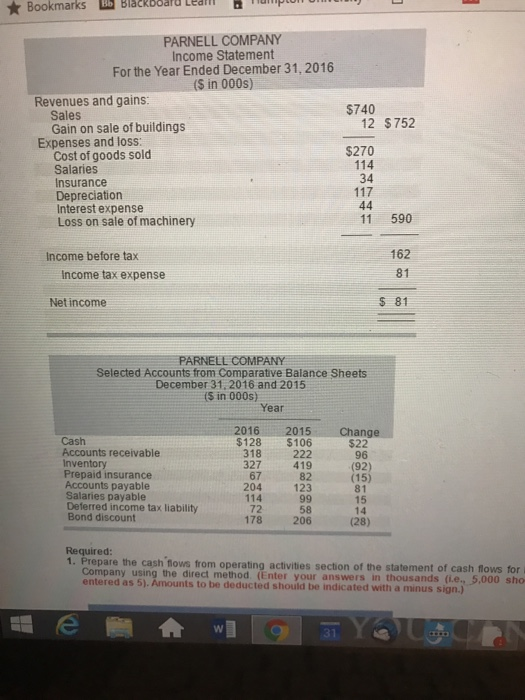 Question: Bookmarks Blackooard Lualll Leal PARNELL COMPANY Income Statement For the <a href=