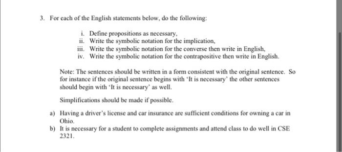 For Each Of The English Statements Below Do The F Chegg