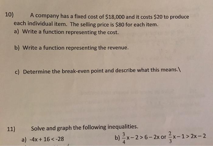 Algegra break even point homework help