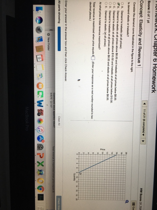 Question: Consider the demand curve illustrated in the figure to the right.  Is demand elastic or inelastic...