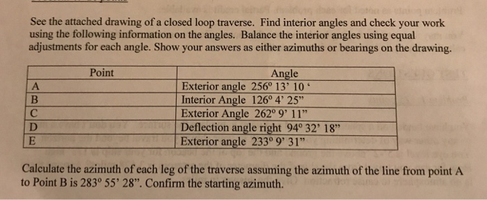 Solved see the attached drawing of a closed loop traverse - Which of the following are exterior angles ...