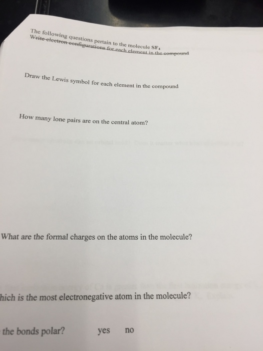 Solved The Following Questions Pertain To The Molecule Sf
