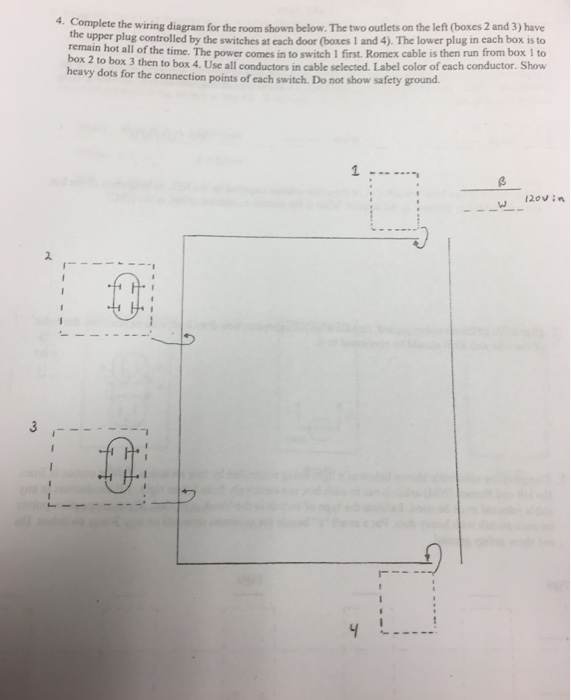complete the wiring diagram for the room shown bel chegg com complete the wiring diagram for the room shown below the two outlets on