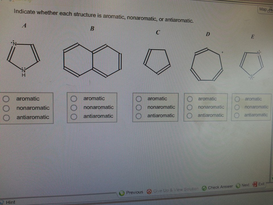Indicate Wheter Each Structure Is Aromatic, Nonaromatic,... | Chegg ...: www.chegg.com/homework-help/questions-and-answers/indicate-wheter...