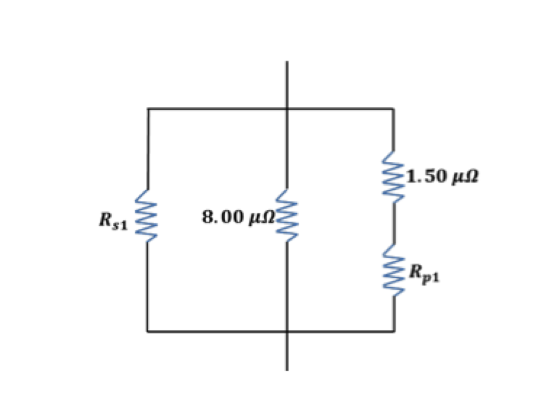 we can now replace the two series and two parallel resistanceswith their equivalent resistances