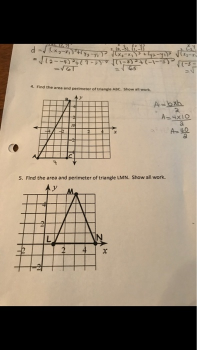 Solved Find The Area And Perimeter Of Triangle Abc Find