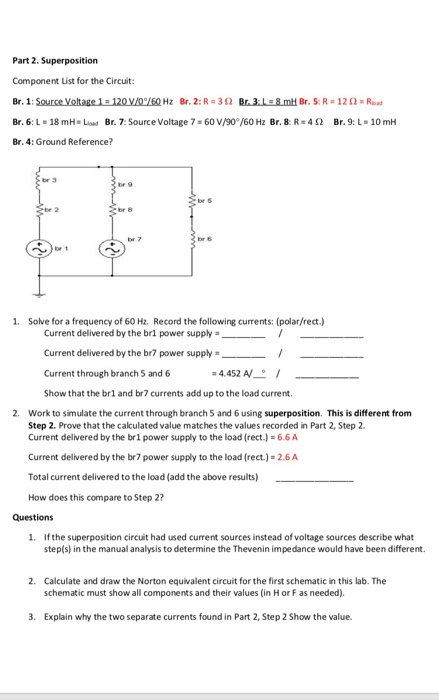 Electrical engineering archive february 26 2018 chegg 1 answer part 2 superposition component list for the circuit br 6 l fandeluxe Gallery