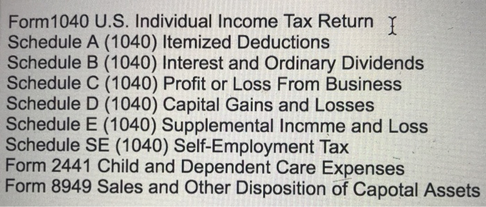 Form 1040 Us Individual Income Tax Return Schedu Chegg