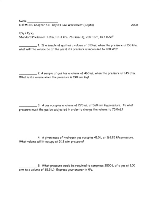 Charles Law Worksheet Answers - Sharebrowse