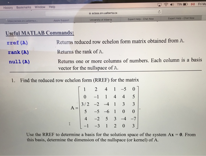 useful matlab commands rref a returns reduced r com expert answer