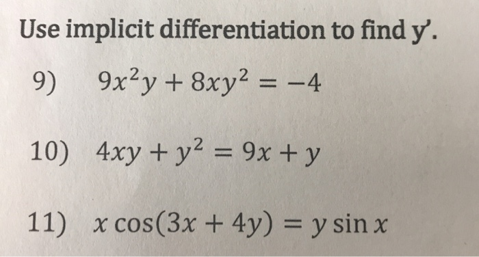 implicit differentiation questions and answers pdf