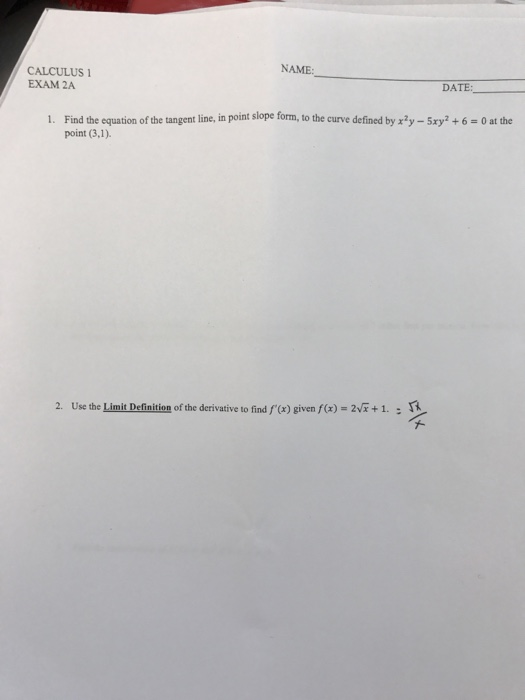 Solved Find The Equation Of The Tangent Line In Point Sl