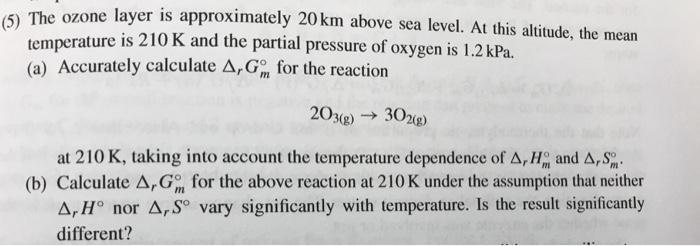 Ozone Layer Is Approximately Km Above Sea Level Cheggcom - Above sea level calculator