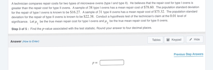 A Technician Compares Repair Costs For Two Types Of Microwave Ovens Type Land Ii