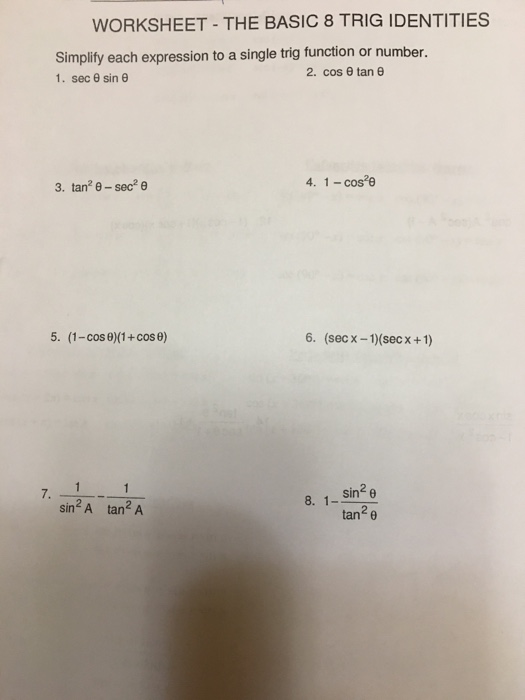 HonorsPre-Calculus - Verifying Using Trig Identities