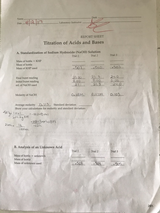acids and bases lap report This is my lab report on chemistry lab report on standardization of acid and bases chem 1300 experiment 4 standardization of acids and bases using.