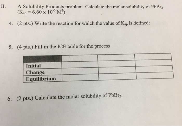 how to solve ksp from molar solubility