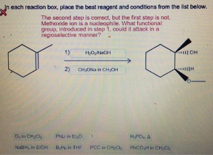 in each reaction box place the best reagent and conditions from the list below oh-#35