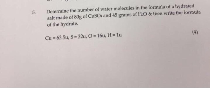 determining the number of water molecules When a hydrate is heated the water molecules are driven off as steam,  this a whole number ratio can be determined  determining the formula of a hydrate name.