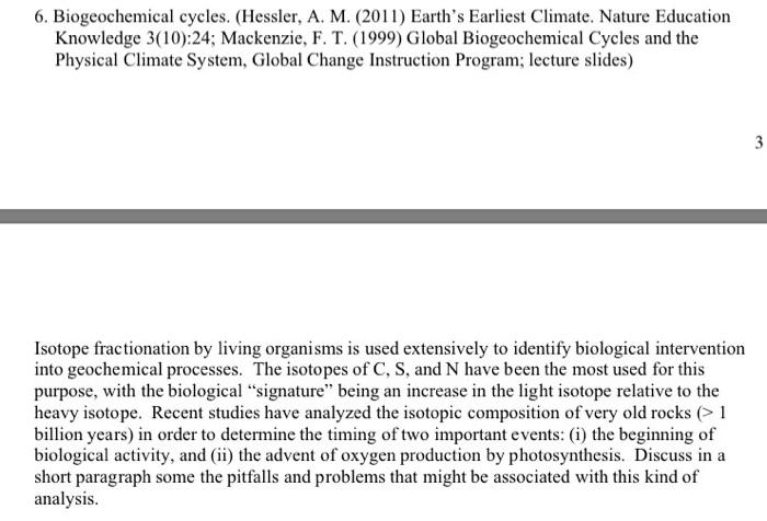 Solved 6 biogeochemical cycles hessler a m 2011 e biogeochemical cycles hessler a m 2011 earths earliest climate publicscrutiny Gallery