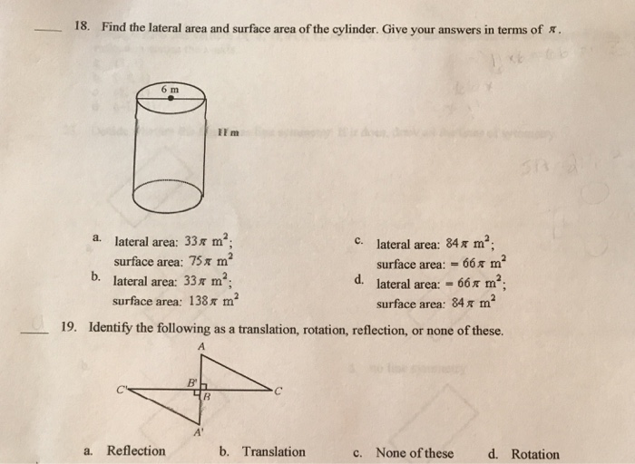 Find the lateral area and surface area of the cyli chegg 18 find the lateral area and surface area of the cylinder give your answers in ccuart Gallery