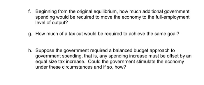Question: F. Beginning from the original equilibrium, how much additional government spending would be requ...