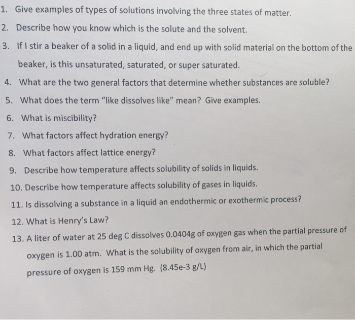 Solved Give Examples Of Types Of Solutions Involving The