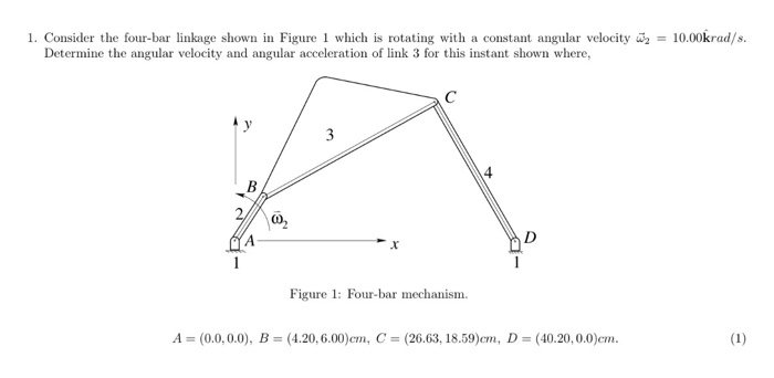 Solved 1 consider the four bar linkage shown in figure 1 consider the four bar linkage shown in figure 1 which is rotating with ccuart Images