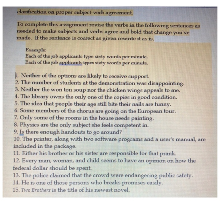 Solved clarification on proper subject verb agreement to clarification on proper subject verb agreement to complete this assignment revise the verbs in platinumwayz