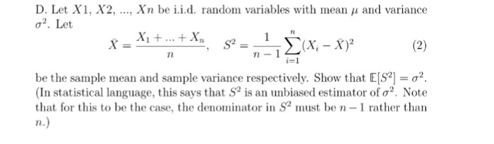 Let X1, X2 , Xn Be I.I.D. Random Variables With   | Chegg.Com