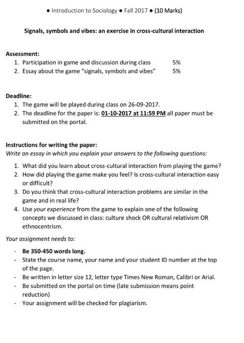 assessment participation in game and discussio com question assessment 1 participation in game and discussion during class 5% 2 essay about the game si