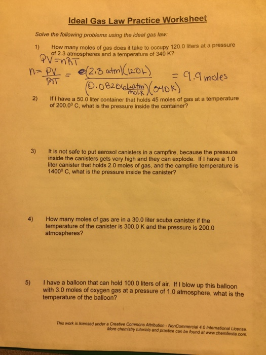Solve The Following Problems Using The Ideal Gas L – Ideal Gas Law Practice Worksheet