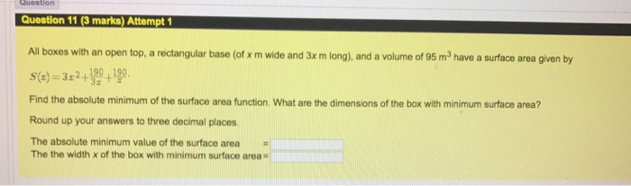 All boxes with an open top a rectangular base of chegg question 1103 marks attempt 1 all boxes with an open top a rectangular base ccuart Choice Image