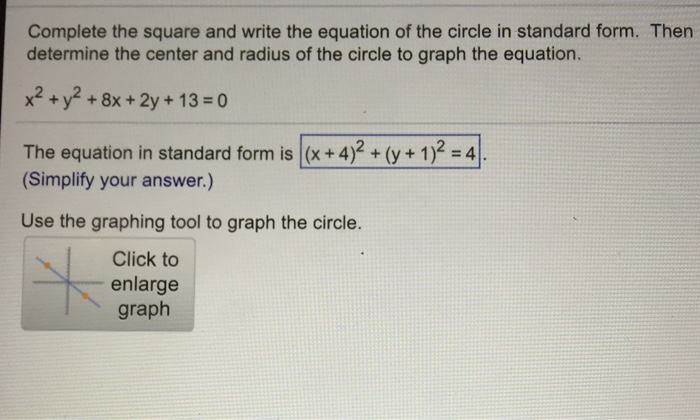 Complete The Square And Write The Equation Of The Chegg
