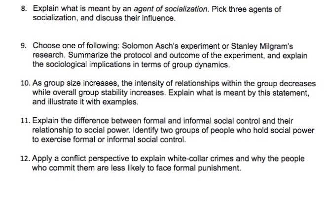 Solved Explain What Is Meant By An Agent Of Socialization