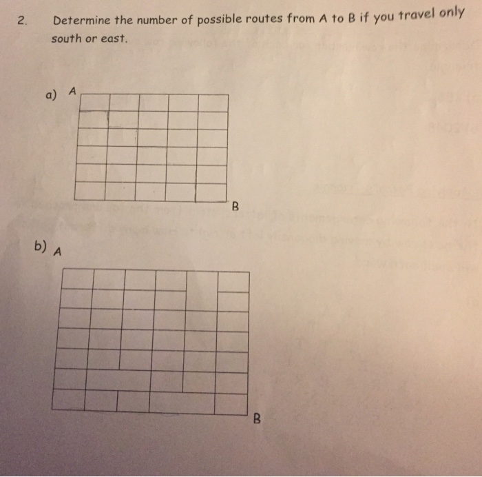 Determine the number of possible routes from