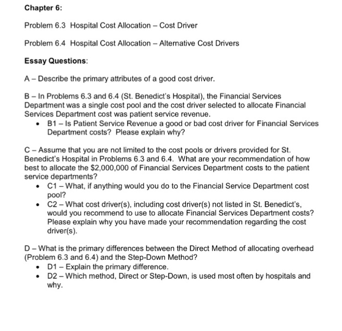best cost allocation method essay There are many methods for determining this cost allocation -- the trick is finding the best approach to provide the most accurate data allocation strategies fall into six main categories: even spread - dividing it costs evenly among business units is the easiest way to perform cost allocation.