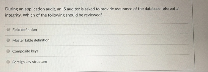 During An Application Audit, An IS Auditor Is Asked To Provide Assurance Of  The Database