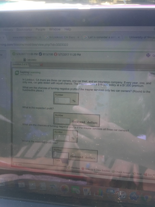 Question: Bookmarks People Window Help saring earn 3 in Lookout, CA there x G Let 's consider a sin x Unive...