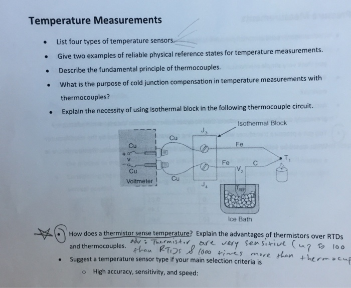 Solved List Four Types Of Temperature Sensors Give Two E