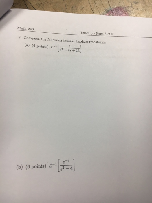 Solved: Compute The Following Inverse Laplace Transforms ...