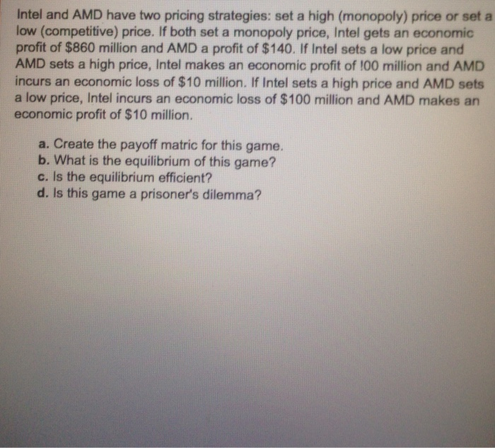Competitive Pricing Strategy: Solved: Intel And AMD Have Two Pricing Strategies: Set A H