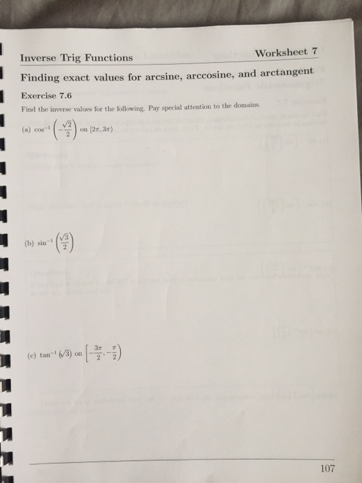 Solved Worksheet 7 Inverse Trig Functions Finding Exact V
