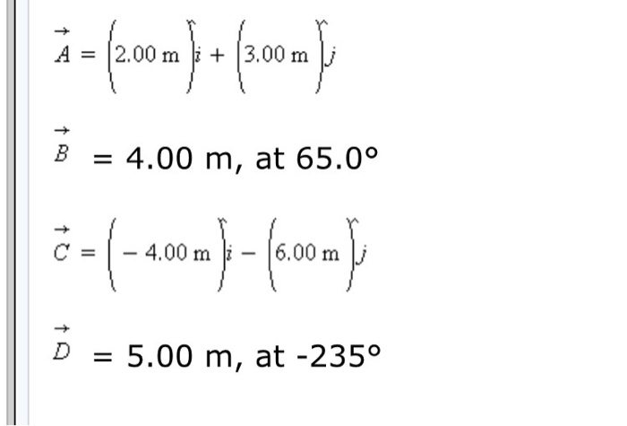 what is the sum of the following four vectors in