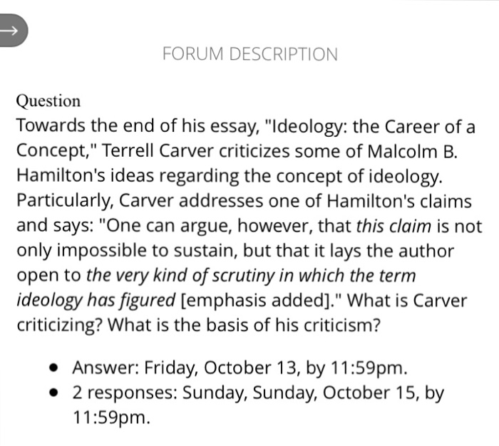 forum description question towards the end of his com forum description question towards the end of his essay ideology the career of a
