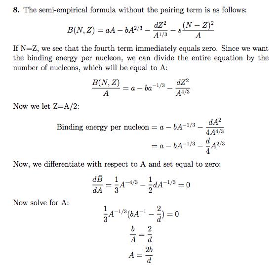 Using The Weizacker Semi-Empirical Mass Formula