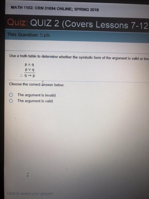 Solved Math 1103 Crn 31694 Online Spring 2018 Quiz Qui