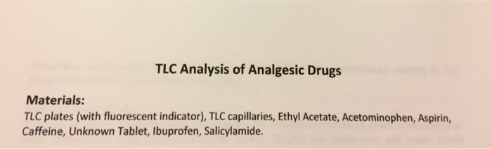 tlc analysis of analgesic drugs Post-lab questions: (please turn in the answers to these questions when you arrive at your next lab) draw the structures for each of the three analgesics and caffeine, using chemdraw.