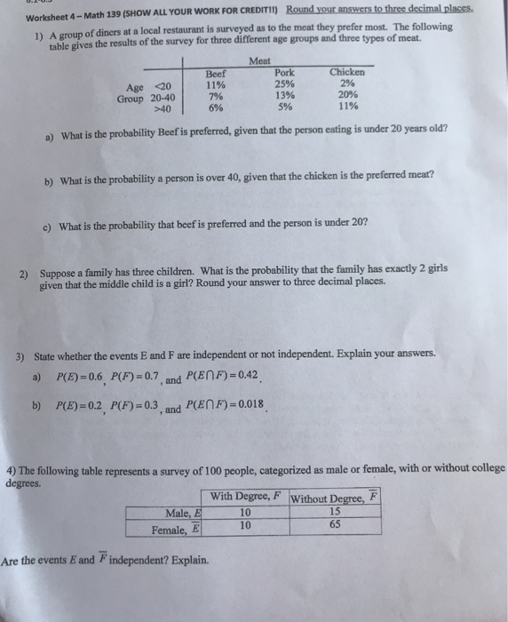 Solved: Worksheet 4-Math 139 (SHOW ALL YOUR WORK FOR CREDI ...